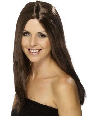 Ladies Fancy Dress Star Style Long Wig - Brown